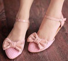 Womens Ladies Pointed Toe Polka Dot Flat Mary Jane Shoes with Bow UK 2.5 - 6#938 | eBay