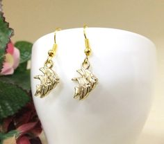 Cute Gold Fish Earrings Fish Dangle Earrings by BeadSparkleZ