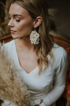 live floral earrings for this boho bride at matara centre wedding venue, tetbury. taken by natural wedding photographer sam bennett photography // bouquet and floral styling by the native florist Boho Bride, Wedding Bride, Wedding Venues, Wedding Day, Wedding Photography And Videography, Summer Weddings, Floral Style, Wedding Portraits, Portrait Photographers