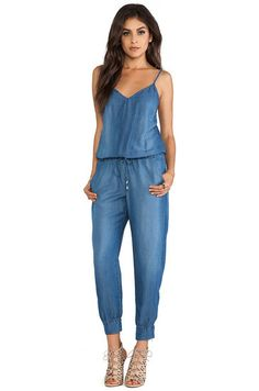 Blue Spaghetti Strap Drawstring Pockets Denim Jumpsuit