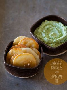 A recipe for Japanese Crackers with Edamame Dip. By Spoon Fork Bacon.