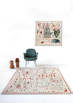 BUY - Hayon x Nani Rug - design Jaime Hayon - Nanimarquina - Fibre New Zeland wool — Technique Hand tufted — Density 56 000 knots / ㎡ — Wool pile height — Total height –– Weight Tord Boontje, Scandinavia Design, Design Awards, Textile Design, Home Accessories, Modern Furniture, Sweet Home, Rugs, Punch Needle