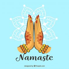 Namaste gesture with henna tattoos Free Vector Luxury Business Cards, Modern Business Cards, Buddha Background, Chakras, Namaste Tattoo, Spiritual Paintings, Name Card Design, Indian Art Paintings, Blue Wedding Invitations
