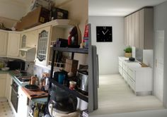 Before and after kitchens. Update, redesign, de-clutter