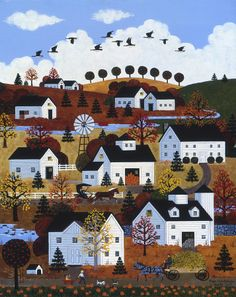 Jane Wooster Scott and her remarkable images of America are now represented exclusively for worldwide licensing by Porterfield's Fine Art Licensing. Kitsch, Primitive Painting, City Folk, Cottage Art, Country Art, Autumn Art, Naive Art, Traditional Art, Art Pictures