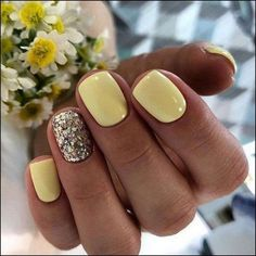 23 Great Yellow Nail Art Designs 2019 - Yellow Nails Design - Best Nail World Cute Acrylic Nails, Cute Nails, Cute Shellac Nails, Simple Gel Nails, Shellac Nail Designs, Cute Simple Nails, Pink Nails, My Nails, Best Nails