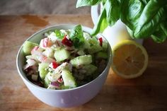 One of the simplest salads ever.  Radishes, cucumber, and feta cheese - I could eat it all summer long.  Try it... you will not be dissapointed!  (I am pretty sure this salad is responsible for my radish obsession.)