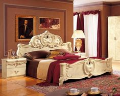 af6d6e8b03f0 ESF Barocco Luxury Glossy Ivory Queen Bedroom Set 3 Classic Made in Italy  (ESF Barocco