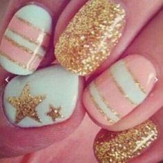Gold Glitter & Mint!