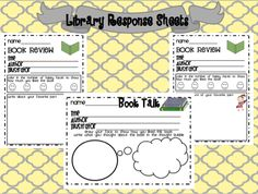 Live, Love, Laugh Everyday in Kindergarten: Library Response Sheets FREEBIES!!