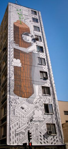 "Mural Art ""Never Give Up"" by Millo in Santiago de Chile / #Millo"