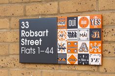 Love the way individual buildings are given a unique identity within a modular system ....stockwell park estate wayfinding signage by hat-trick design