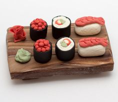 Fondant sushi plate cake topper by SeasonablyAdorned on Etsy