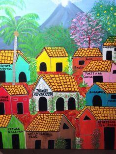 Mi vecindario painting by Helen!!