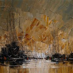 Polish painter Justyna Kopania's latests series of sailboats and shipshas renderedme speechless. The heavy, flat strokes, depicting reflections and dimensions, make her work so distinctive. I lovehow the boats seem to be gliding away while the birds look to be flying off the canvas. I could