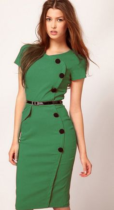 Green Short Sleeve Belt Dress - Sheinside.com