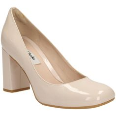 Clarks Gabriel Mist Block Heel Court Shoes , Nude Pink Patent ($78) ❤ liked on…