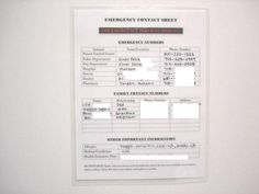 Create a laminated emergency contact list #safety