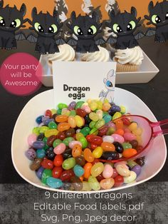 Dragon Halloween party decor svg food labels How to train   Etsy