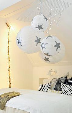 Leuke lampen #kinderkamer: Rijstpapieren bollen met sterren - Ricepaper balls with stars. #nursery