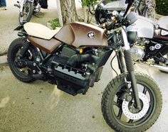 BMW K-Bike with knobbies and leather!  I approve!