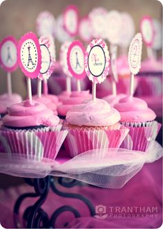 Paris theme birthday party pink cupcakes