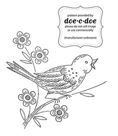 bird on a flower branch embroidery pattern
