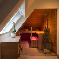 Design sauna- infrared cabin I Sauna building Brabant I grundriss Loft Bathroom, Bathroom Interior, Saunas, Sauna Design, Cabin Design, Wall Mount Electric Fireplace, Sauna Room, Infrared Sauna, Home Spa