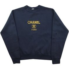 Vintage Bootleg Chanel Sweatshirt Size Small Grubby Mits (550 SEK) ❤ liked on Polyvore featuring tops, hoodies, sweatshirts, shirts, sweaters, vintage polka dot shirt, polka dot shirts, embroidered top, embroidery shirts and embroidered sweatshirts