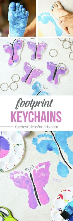 DIY Shrinky Dink Butterfly Footprint Keychains - these are SO CUTE! Perfect for Mothers Day or Fathers Day! Footprint crafts | Handprint crafts | Shrinky Dink ideas | DIY keychains via @bestideaskids