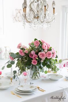 Simple Valentines Day Tablescape With No Red - Shabbyfufu