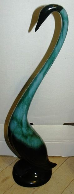"#2121 - Blue Mountain Pottery BMP; Long necked bird; about 18.4"" tall"