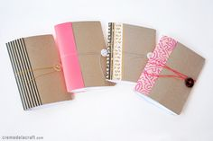 DIY mini note books. Made from cereal boxes (or cardstock) and scrapbook paper. Cute, fast and easy.