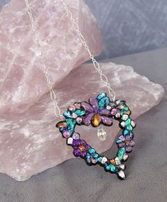 fused dichroic glass sculpted heart necklace... (View 2)  $75