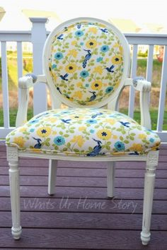 $20 Craigslist Chair made over with Annie Sloan Chalk Paint. Chevron fabric on the back and arm rests. Detailed tutorial at www.whatsurhomestory.com