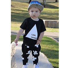 """Amazon.com: Little Boys """"Game Changer"""" Triangle T-shirt and Cross Print Pants Outfit (100(2-3Y)): Clothing"""