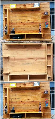 Wooden Pallet Projects these creative and fresh wooden pallets ideas with help you to fulfill your desires. These pallet ideas will make you a creative person!Pallet Tv Stand With Shelving