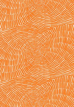 orange print fabric, This dramatic full-width print was adapted from Trina Turk's apparel collection and features a striped pattern arranged in a spiraling, circular design.