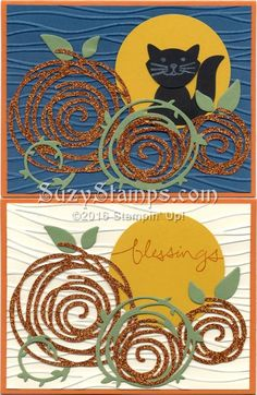 Stampin' Up! Cards - 2016-10 Class - Swirly Bird and Foxy Friends stamp sets, Seaside Embossing Folder, Fox Builder Punch and Swirly Scribbles Thinlits Dies, Pumpins