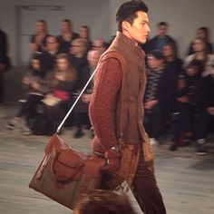 Joseph Abboud spring 2016 menswear collection for NYFWM with custom made lumberjack leather bags for Rawlings handcrafted in the USA