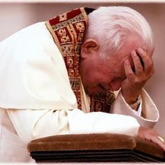 Blessed Pope John Paul II. Heartbreaking to see him cry. Can't help but ponder what made him weep in this way.