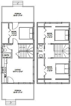 Tiny house 2 bedroom floor plans for tiny houses tiny house 2 Narrow House Plans, Small Floor Plans, Garage House Plans, Modern House Plans, Small House Plans, House Floor Plans, A Frame Floor Plans, Car Garage, House 2