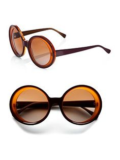 Marni Oversized Two-Tone Round Plastic Sunglasses