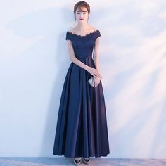 Buy Remme Off-Shoulder Lace-Panel Evening Gown   YesStyle