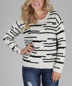Look at this White & Black Stripe Knit Sweater on #zulily today!