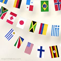 Great free printable world flags of 100 countries in one high-res pdf - perfect for world party bunting and geography learning for children.