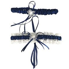 Classic Series Lace Wedding Garter With Pearl2 Per PackNavy One Size