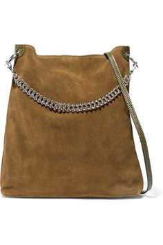 Little Liffner | Liquor leather-trimmed suede shoulder bag | NET-A-PORTER.COM