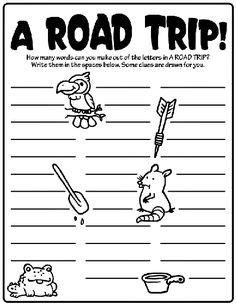 A Road Trip! How many words can you make out of the word....