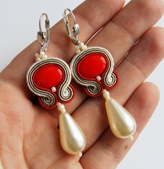 Bridal soutache earrings handmade red ecru pearl by SaboDesign